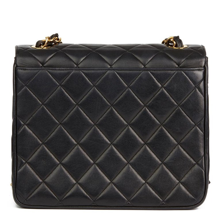 Women's 1994 Chanel Black Quilted Lambskin Vintage XL Classic Single Flap Bag For Sale