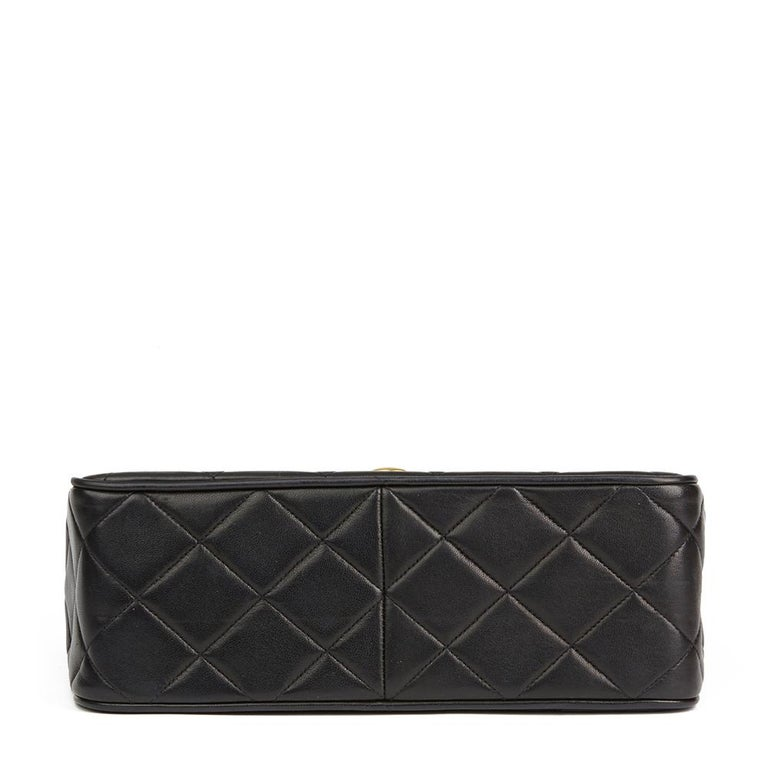 1994 Chanel Black Quilted Lambskin Vintage XL Classic Single Flap Bag For Sale 1