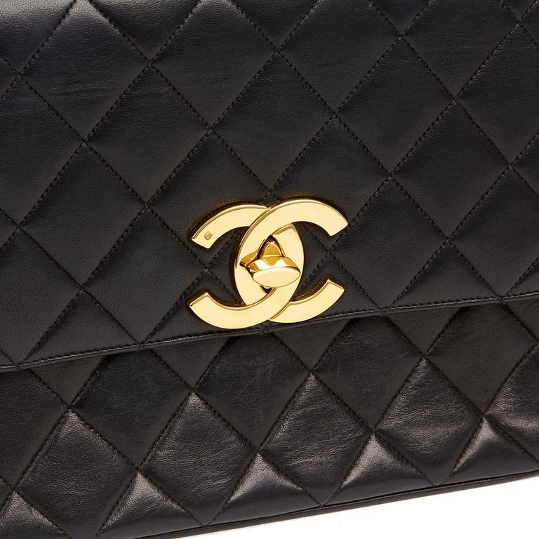 1994 Chanel Black Quilted Lambskin Vintage XL Classic Single Flap Bag For Sale 2