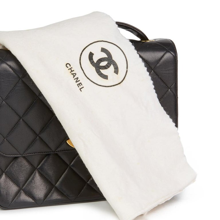1994 Chanel Black Quilted Lambskin Vintage XL Classic Single Flap Bag For Sale 7
