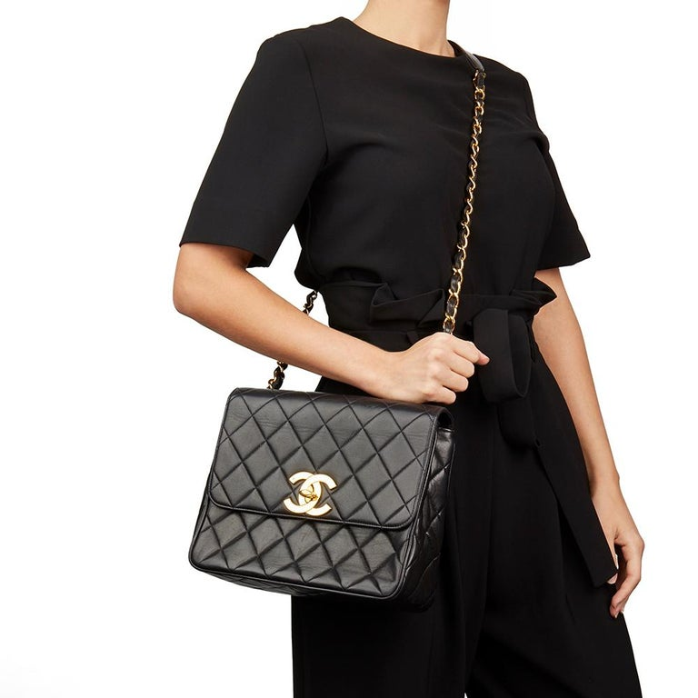 1994 Chanel Black Quilted Lambskin Vintage XL Classic Single Flap Bag For Sale 8