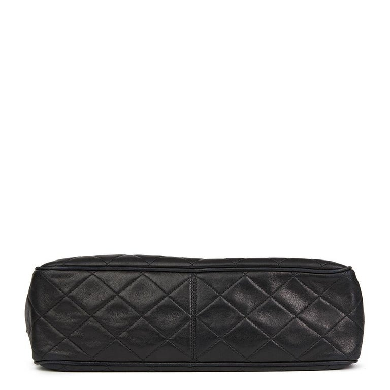 Women's 1991 Chanel Black Quilted Lambskin Vintage Timeless Charm Camera Bag For Sale
