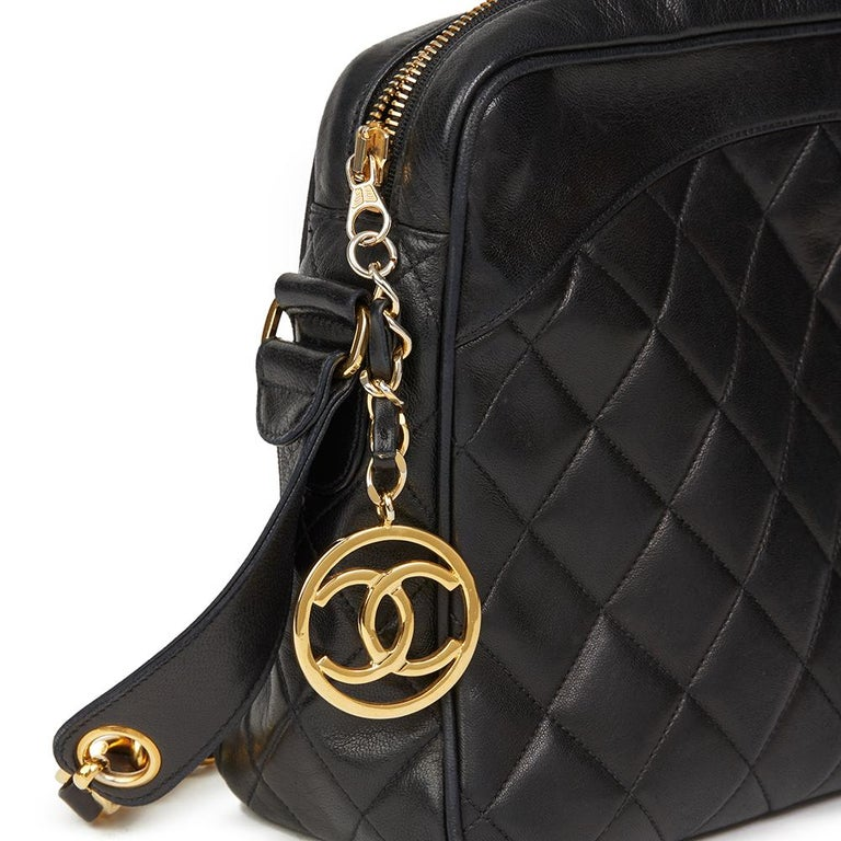 1991 Chanel Black Quilted Lambskin Vintage Timeless Charm Camera Bag For Sale 1