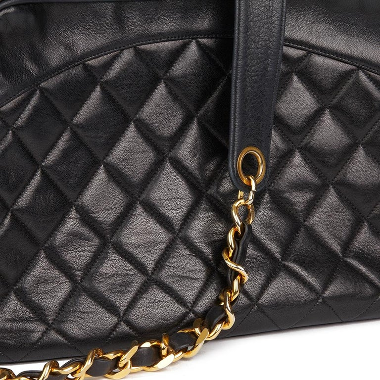 1991 Chanel Black Quilted Lambskin Vintage Timeless Charm Camera Bag For Sale 2