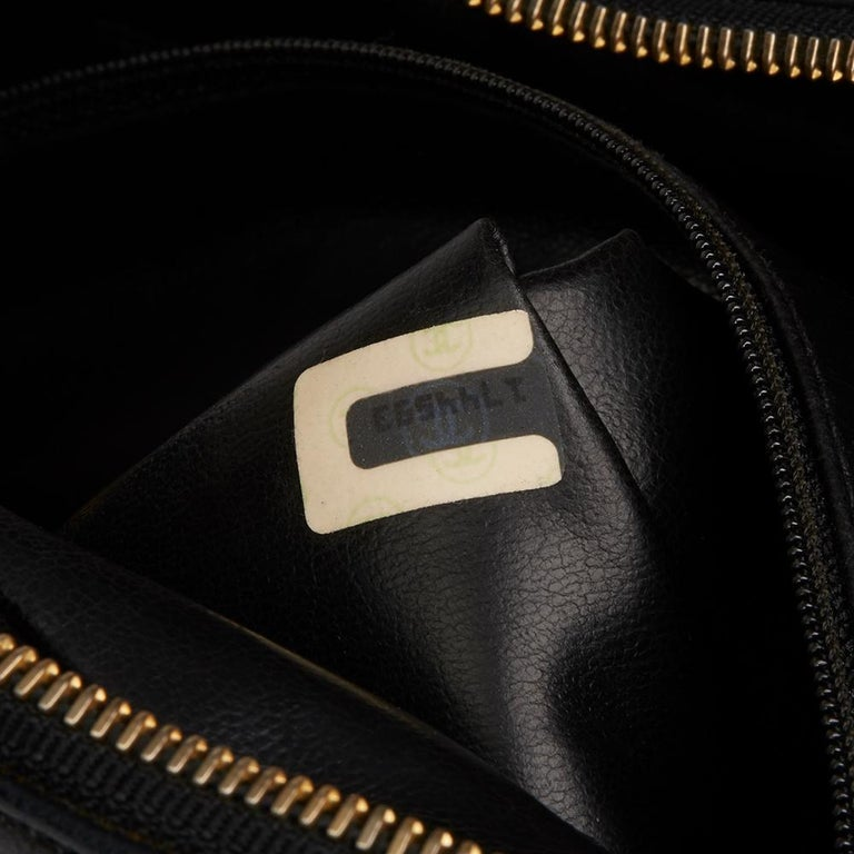 1991 Chanel Black Quilted Lambskin Vintage Timeless Charm Camera Bag For Sale 4