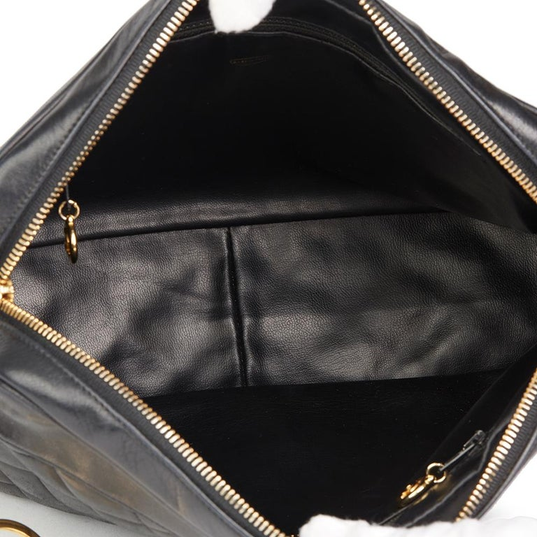 1991 Chanel Black Quilted Lambskin Vintage Timeless Charm Camera Bag For Sale 5