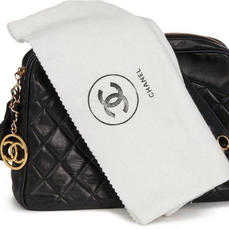 1991 Chanel Black Quilted Lambskin Vintage Timeless Charm Camera Bag For Sale 6