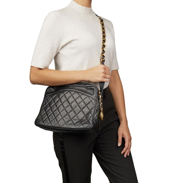 1991 Chanel Black Quilted Lambskin Vintage Timeless Charm Camera Bag For Sale 7