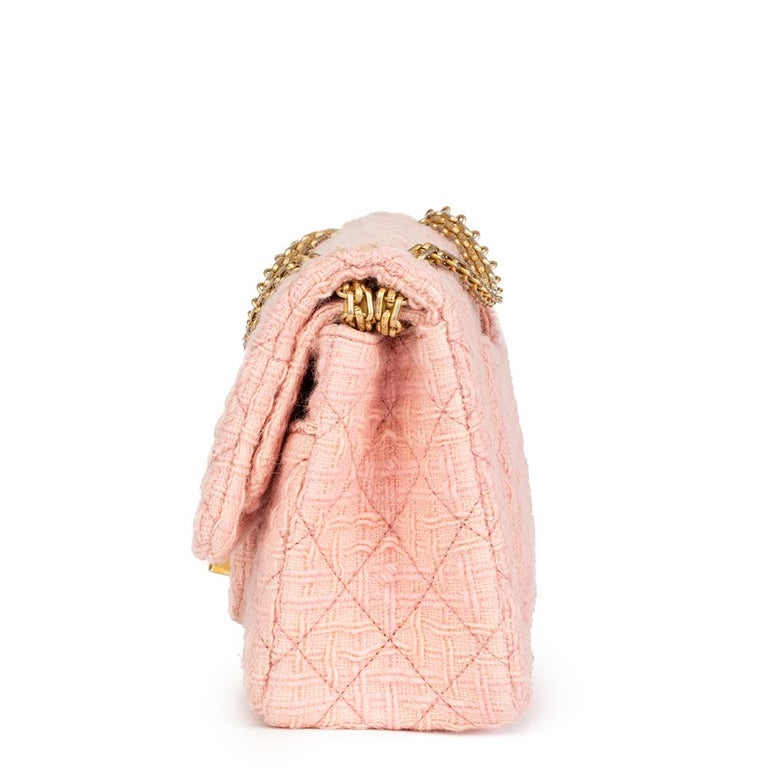 CHANEL Pink Quilted Tweed 2.55 Reissue 225 Double Flap Bag  Xupes Reference: HB2171 Serial Number: 23169026 Age (Circa): 2017 Accompanied By: Chanel Dust Bag, Box Authenticity Details: Serial Sticker (Made in France) Gender: Ladies Type: Shoulder,