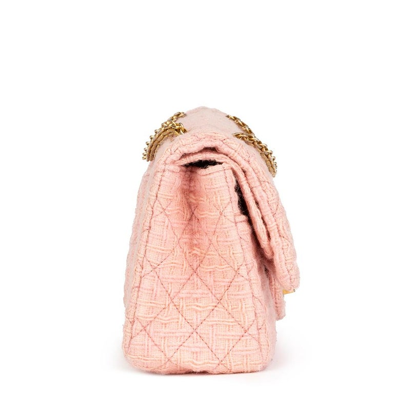 Orange 2017 Chanel Pink Quilted Tweed 2.55 Reissue 225 Double Flap Bag For Sale