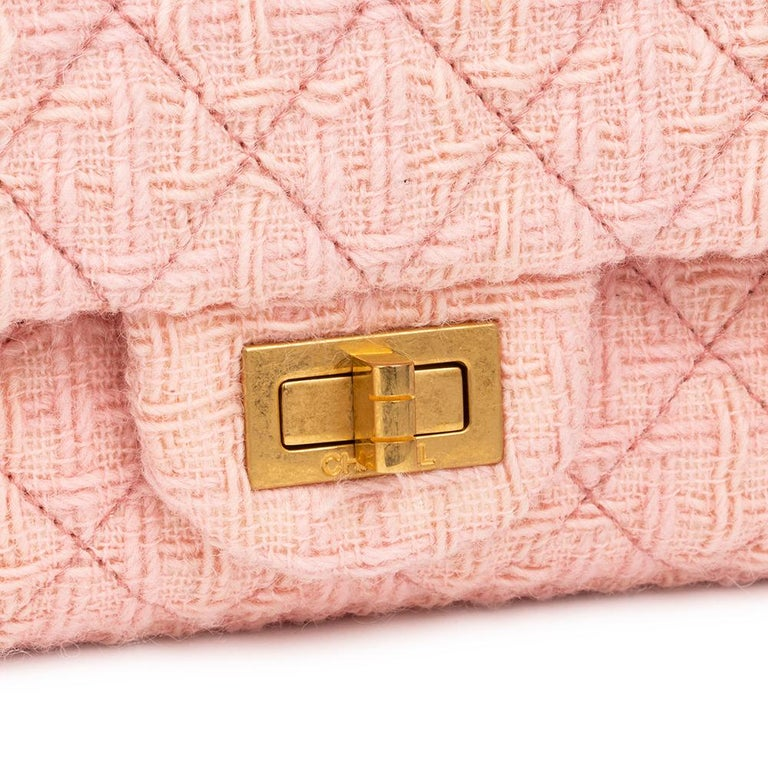 2017 Chanel Pink Quilted Tweed 2.55 Reissue 225 Double Flap Bag For Sale 1