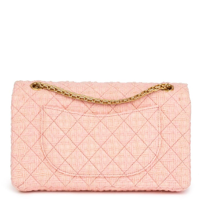 2017 Chanel Pink Quilted Tweed 2.55 Reissue 225 Double Flap Bag In Excellent Condition For Sale In Bishop's Stortford, Hertfordshire