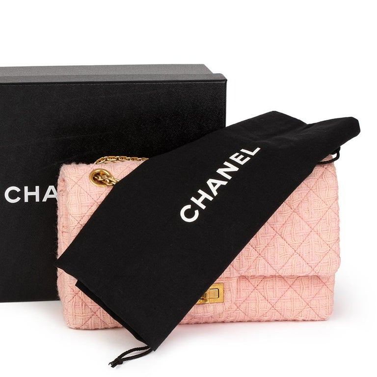 2017 Chanel Pink Quilted Tweed 2.55 Reissue 225 Double Flap Bag For Sale 6