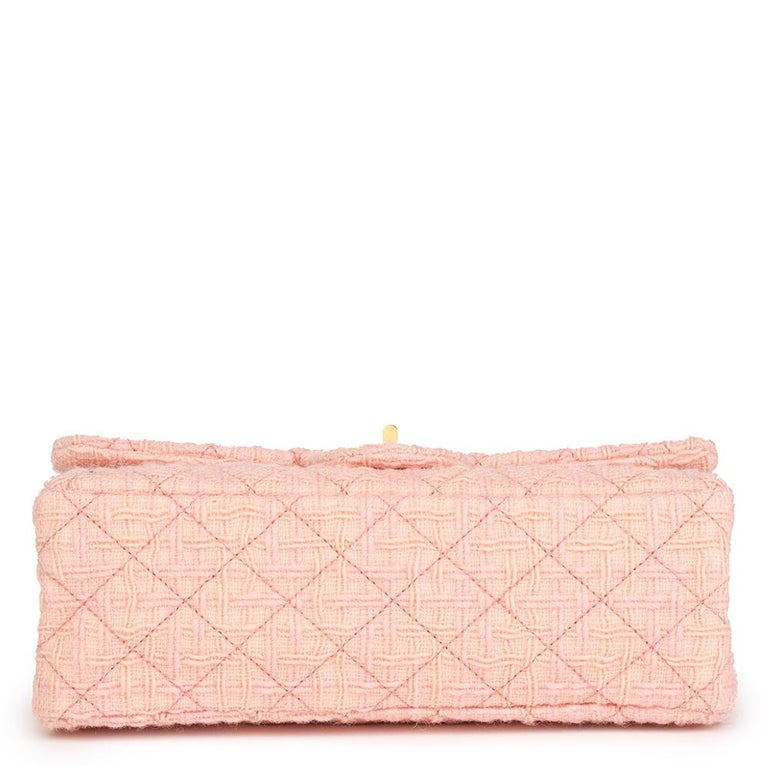 Women's 2017 Chanel Pink Quilted Tweed 2.55 Reissue 225 Double Flap Bag For Sale