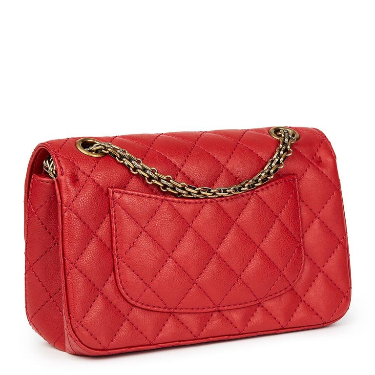 Women's 2017 Chanel Red Quilted Calfskin Leather 2.55 Reissue 224 Double Flap Bag For Sale