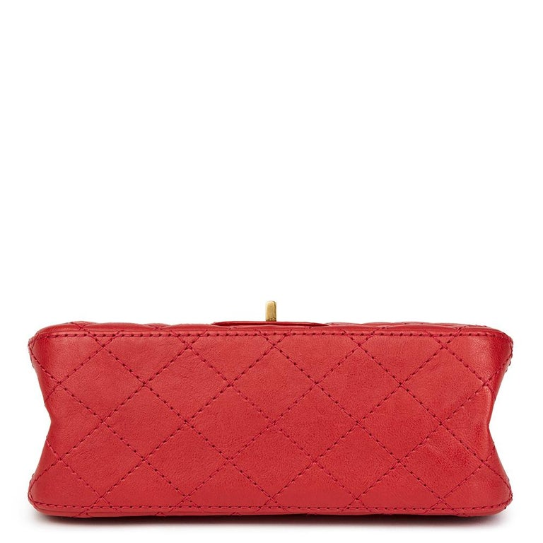 2017 Chanel Red Quilted Calfskin Leather 2.55 Reissue 224 Double Flap Bag For Sale 1