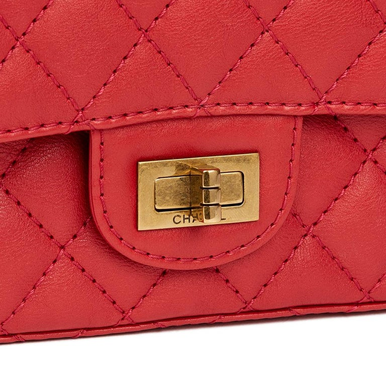 2017 Chanel Red Quilted Calfskin Leather 2.55 Reissue 224 Double Flap Bag For Sale 2