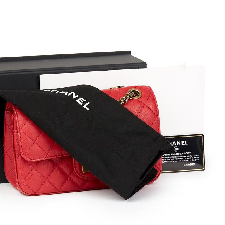 2017 Chanel Red Quilted Calfskin Leather 2.55 Reissue 224 Double Flap Bag For Sale 6