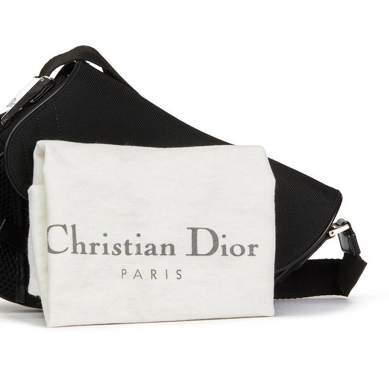 Women's 2002 Christian Dior Black Mesh Fabric Crossbody Saddle Bag For Sale
