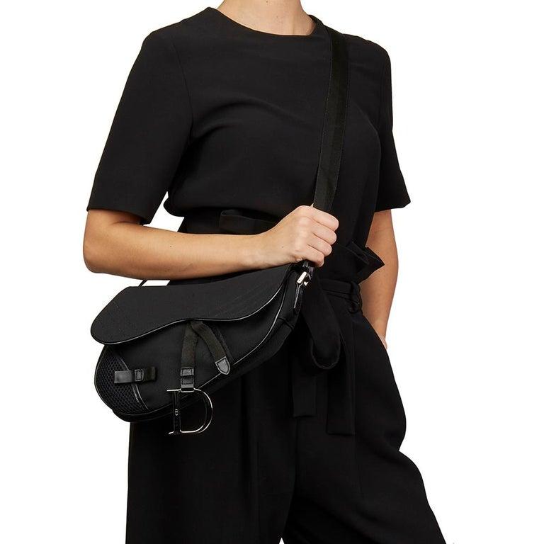 2002 Christian Dior Black Mesh Fabric Crossbody Saddle Bag For Sale 1