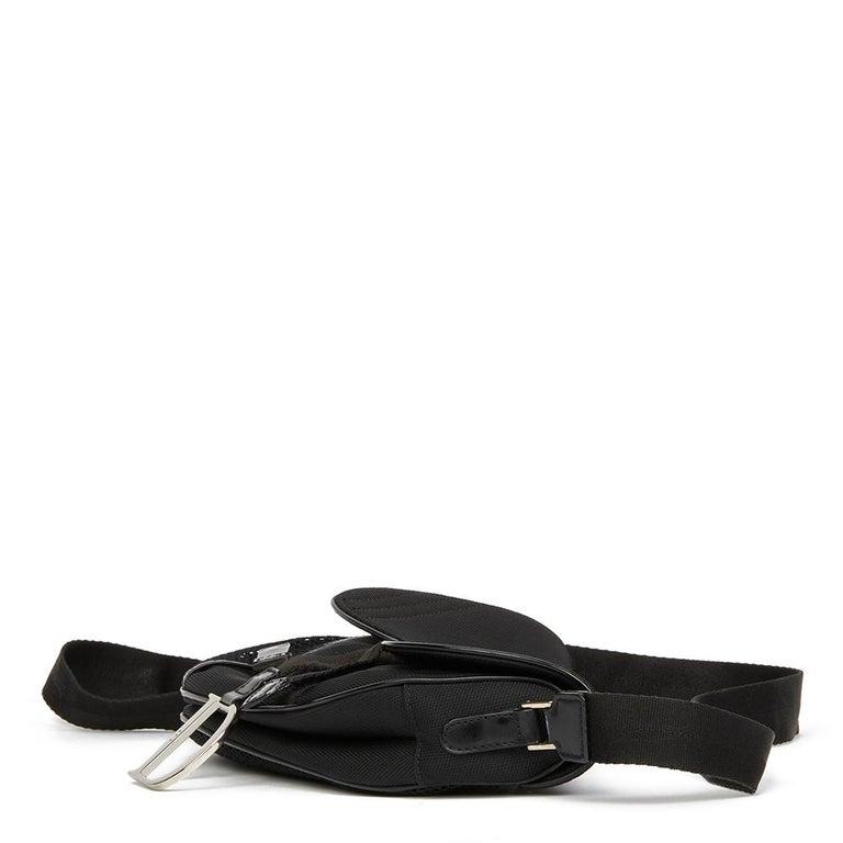 2002 Christian Dior Black Mesh Fabric Crossbody Saddle Bag For Sale 2