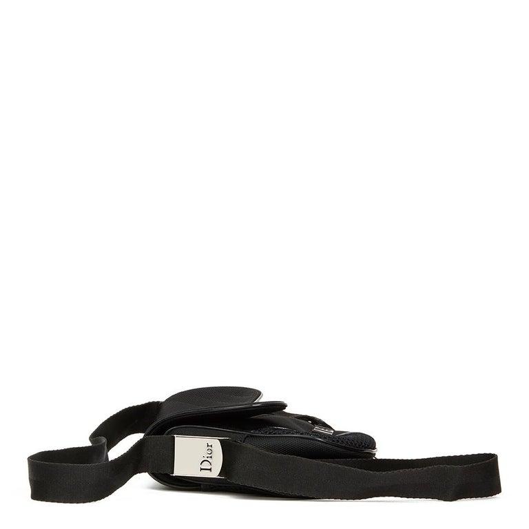 2002 Christian Dior Black Mesh Fabric Crossbody Saddle Bag For Sale 3