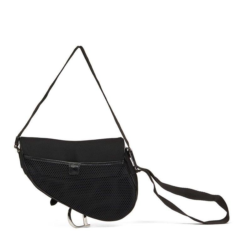 2002 Christian Dior Black Mesh Fabric Crossbody Saddle Bag For Sale 4