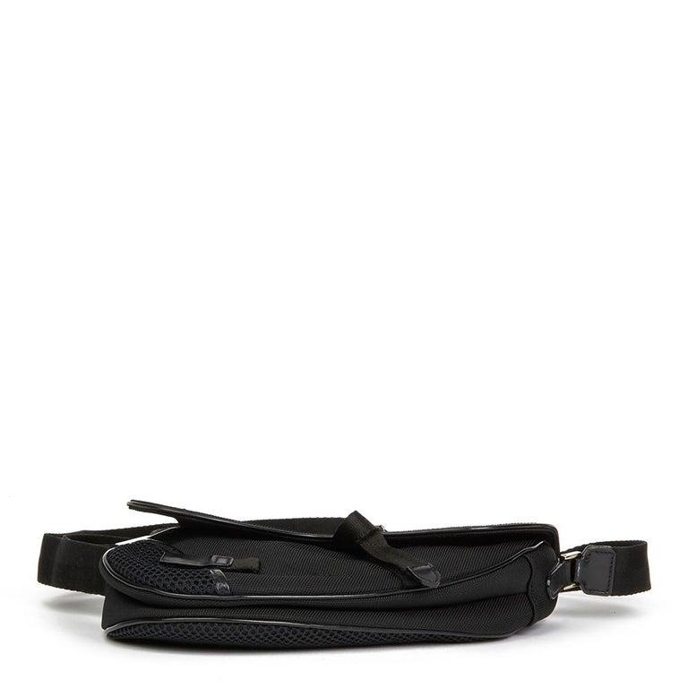 2002 Christian Dior Black Mesh Fabric Crossbody Saddle Bag For Sale 5