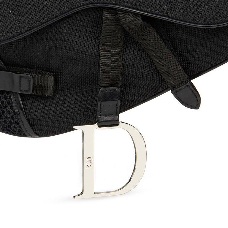 2002 Christian Dior Black Mesh Fabric Crossbody Saddle Bag For Sale 6