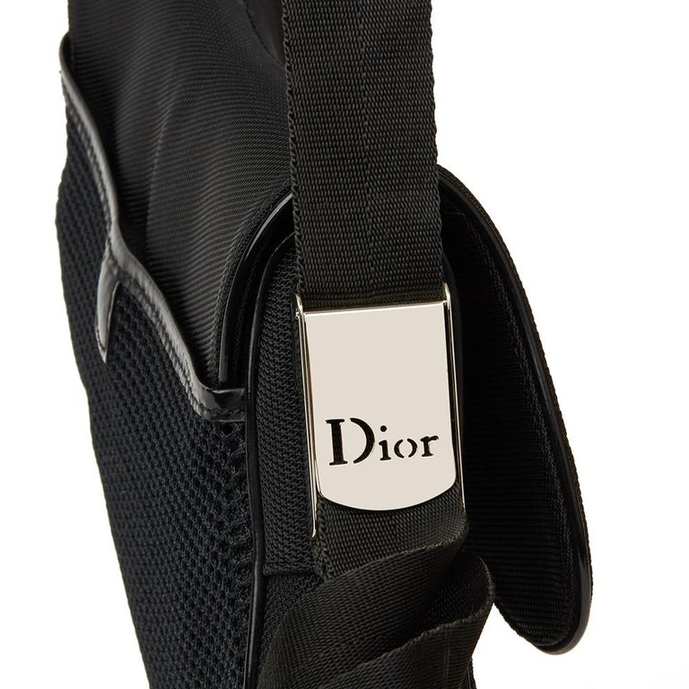 2002 Christian Dior Black Mesh Fabric Crossbody Saddle Bag For Sale 7