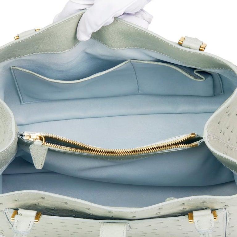 2010 Loro Piana Sage Ostrich Leather Bellevue Media In Excellent Condition For Sale In Bishop's Stortford, Hertfordshire