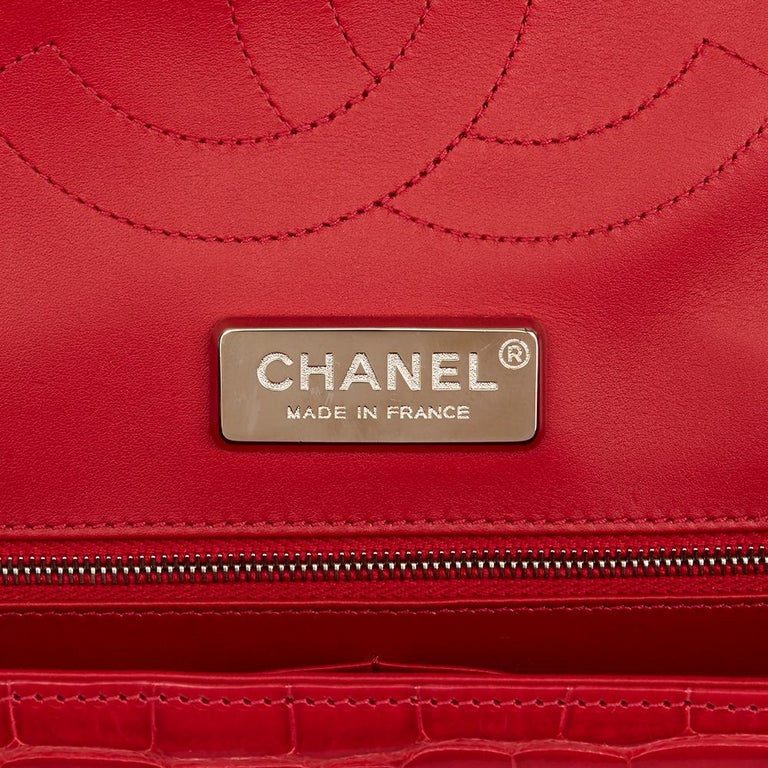 Women's 2013 Chanel Red Shiny Mississippiensis Alligator Jumbo Classic Double Flap Bag For Sale