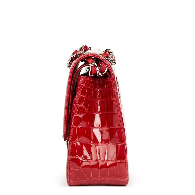 2013 Chanel Red Shiny Mississippiensis Alligator Jumbo Classic Double Flap Bag For Sale 5