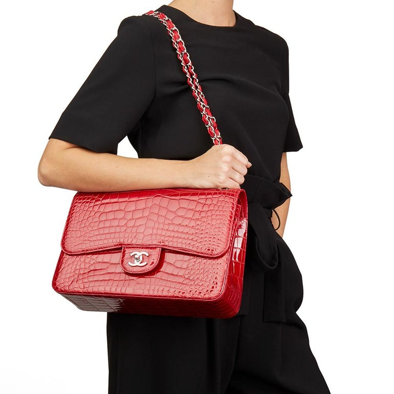 2013 Chanel Red Shiny Mississippiensis Alligator Jumbo Classic Double Flap Bag For Sale 4
