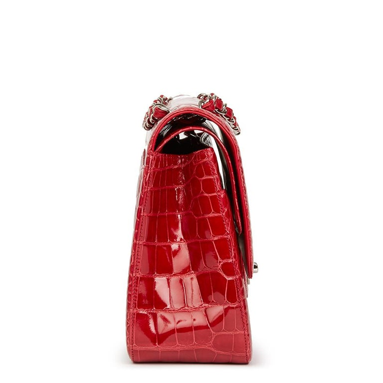 2013 Chanel Red Shiny Mississippiensis Alligator Jumbo Classic Double Flap Bag For Sale 6
