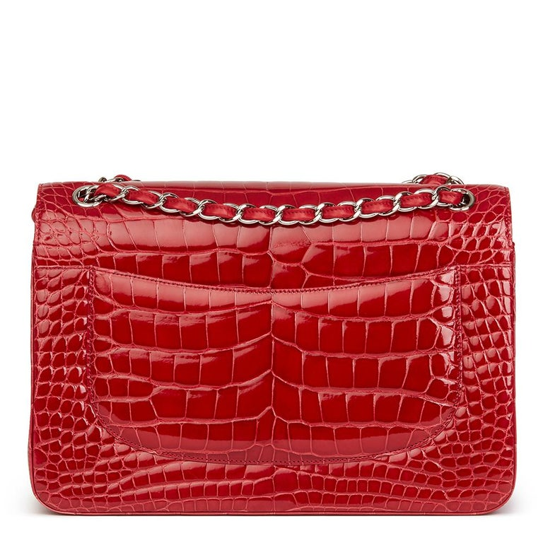 2013 Chanel Red Shiny Mississippiensis Alligator Jumbo Classic Double Flap Bag For Sale 7