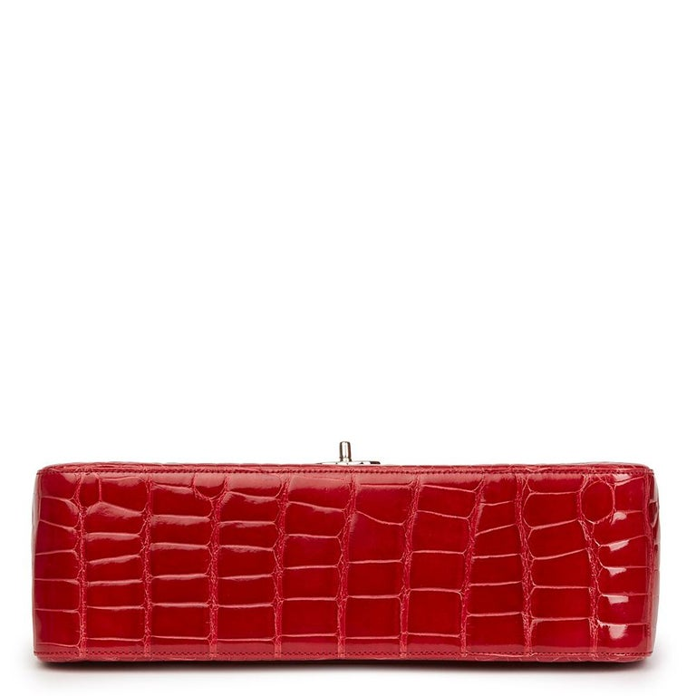 2013 Chanel Red Shiny Mississippiensis Alligator Jumbo Classic Double Flap Bag For Sale 8