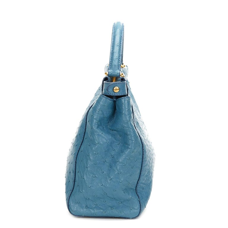6f8516776ed6 2000 Fendi Blue Ostrich Leather Small Peekaboo In Excellent Condition For  Sale In Bishop s Stortford