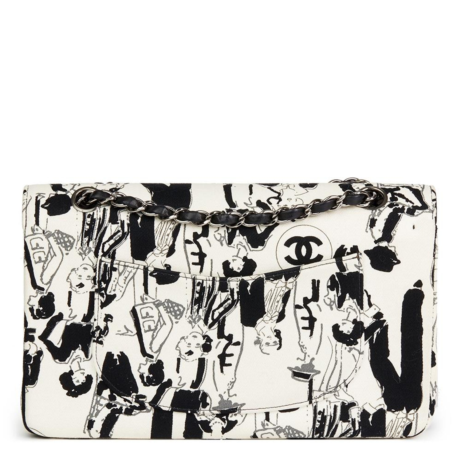 ea69947bff06 Chanel Black and White Karl Lagerfeld Sketches Medium Classic Double Flap  Bag at 1stdibs