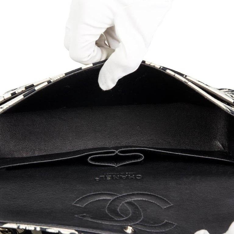 c23d0dab424e Chanel Black   White Karl Lagerfeld Sketches Medium Classic Double Flap Bag  For Sale 5
