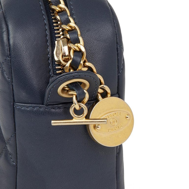 8c30523a5d4a 2014 Chanel Dark Blue Quilted Lambskin Diamond CC Camera Bag For Sale 2