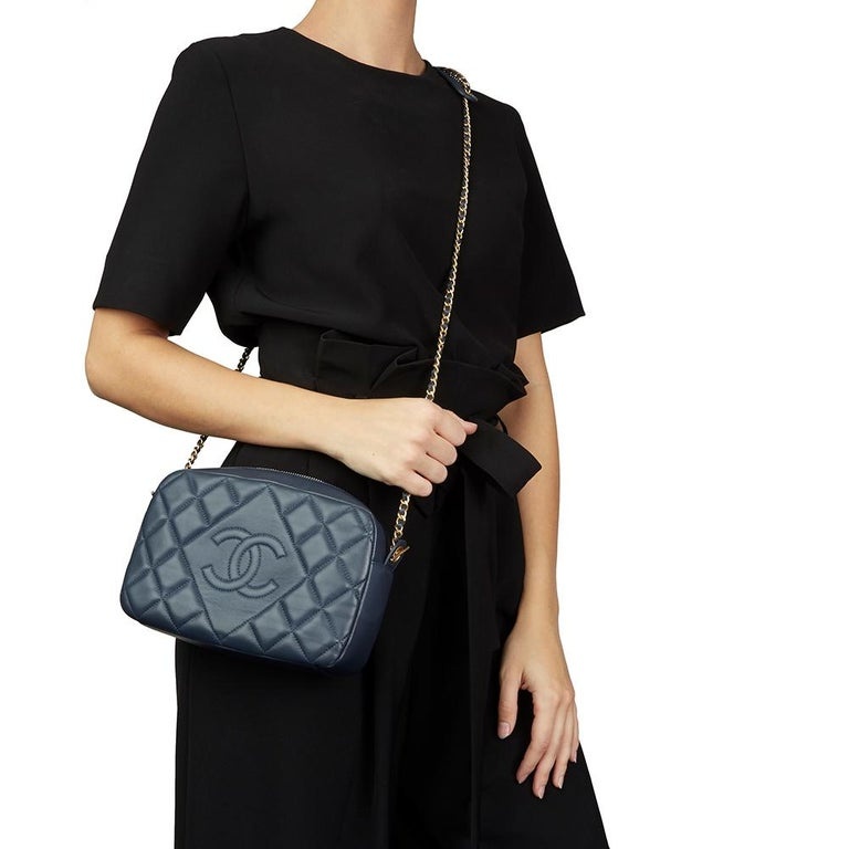 2782495565a1 2014 Chanel Dark Blue Quilted Lambskin Diamond CC Camera Bag For Sale 7
