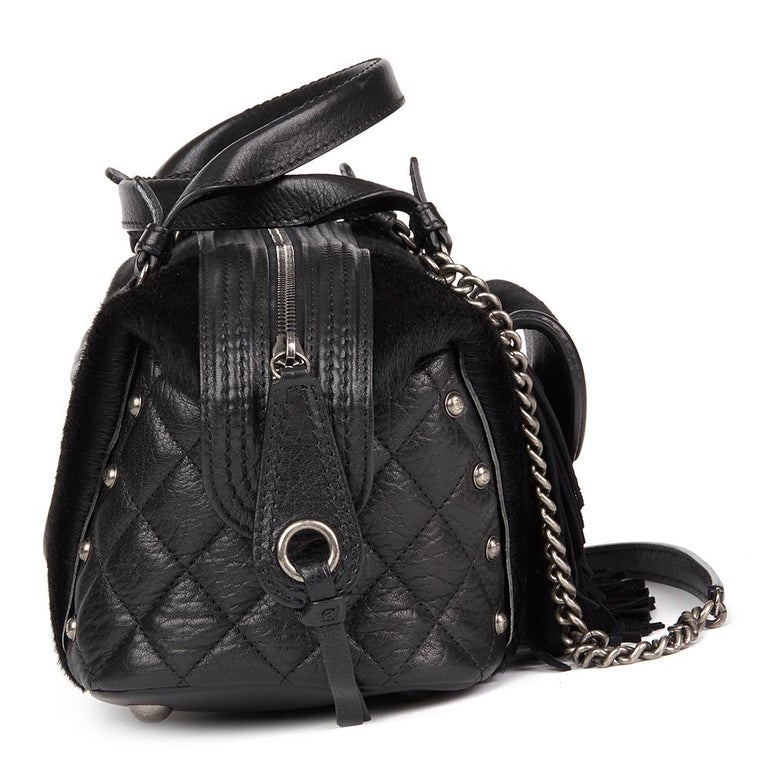 CHANEL Black Quilted Calfskin, Suede & Pony Fur Paris-Dallas Boston Bag  Reference: HB2333 Serial Number: 19596381 Age (Circa): 2014 Accompanied By: Chanel Dust Bag, Authenticity Card Authenticity Details: Serial Sticker, Authenticity Card (Made in