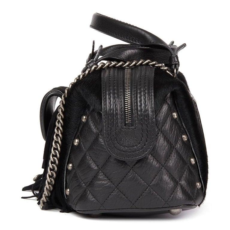 2014 Chanel Black Quilted Calfskin, Suede & Pony Fur Paris-Dallas Boston Bag In Excellent Condition For Sale In Bishop's Stortford, Hertfordshire