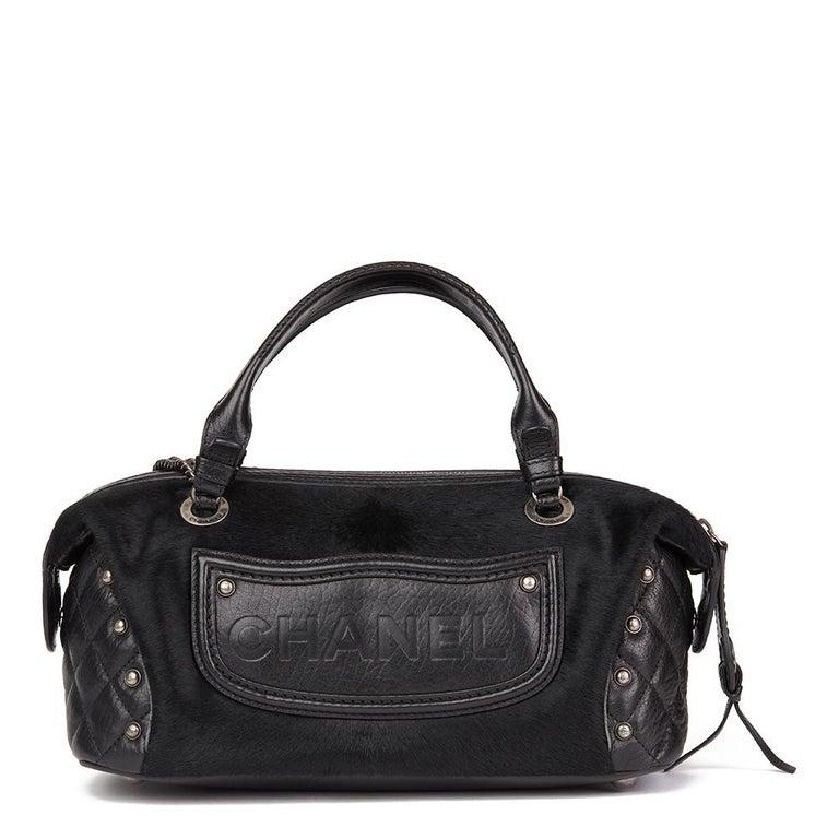 Women's 2014 Chanel Black Quilted Calfskin, Suede & Pony Fur Paris-Dallas Boston Bag For Sale