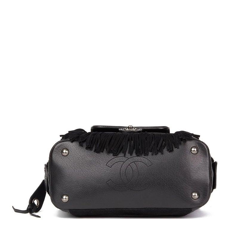 2014 Chanel Black Quilted Calfskin, Suede & Pony Fur Paris-Dallas Boston Bag For Sale 1