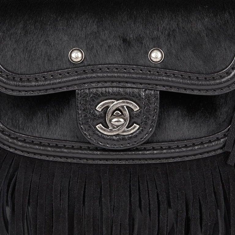 2014 Chanel Black Quilted Calfskin, Suede & Pony Fur Paris-Dallas Boston Bag For Sale 3