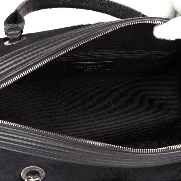 2014 Chanel Black Quilted Calfskin, Suede & Pony Fur Paris-Dallas Boston Bag For Sale 6