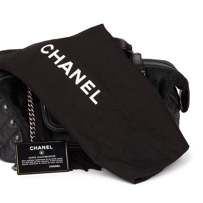 2014 Chanel Black Quilted Calfskin, Suede & Pony Fur Paris-Dallas Boston Bag For Sale 7