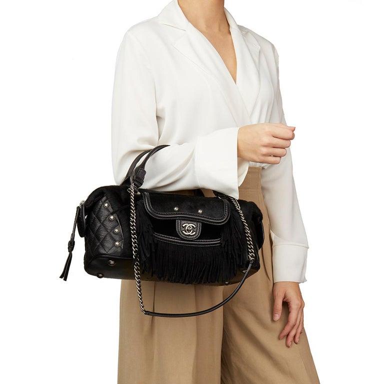 2014 Chanel Black Quilted Calfskin, Suede & Pony Fur Paris-Dallas Boston Bag For Sale 8